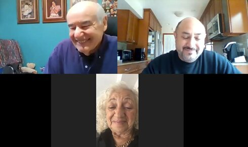 """In this photo taken from video provided by Ruth Brandspiegel, Israel """"Sasha"""" Eisenberg, left, Ruth Brandspiegel, bottom, and her son Larry Brandspiegel, right, tell stories of their time in a post-World War II displaced persons camp and rejoice in their recent reunion in East Brunswick, N.J."""