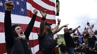 White Supremacy group Proud Boys during a Trump rally in Oregon last month