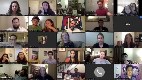 Zachary Schwartz, center, a member of the Tree of Life synagogue, speaks to young adults gathered for a virtual roundtable to commemorate and reflect on the 2018 mass shooting at the Tree of Life synagogue in Pittsburgh