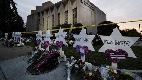 a makeshift memorial stands outside the Tree of Life Synagogue in the aftermath of a deadly shooting at the in Pittsburgh