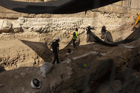 Workers excavate inside the Tower of David Museum in the Old City of Jerusalem, Oct. 28, 2020