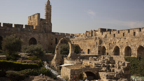 Construction material lies on the grounds at the Tower of David Museum in the Old City of Jerusalem, Oct. 28, 2020
