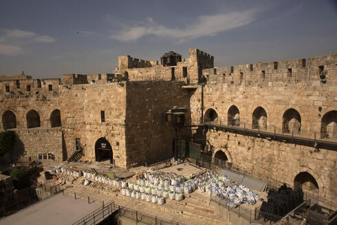 Construction material is ready for use inside the Tower of David Museum in the Old City of Jerusalem, Oct. 28, 2020