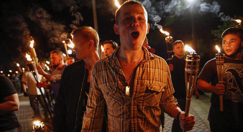 White supremacist's chanting 'Jews will not replace us' in Charlottesville, Virginia in 2017