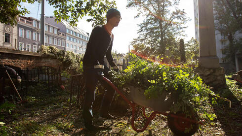 A volunteer cleans up the old Waehring Jewish cemetery in Vienna