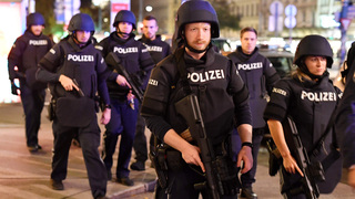 Police at the scene of the attack in Vienna
