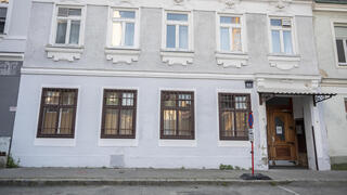 An outside view of a mosque after a raid at the mosque by Austrian police in Vienna, Austria