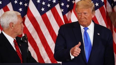 U.S. President Donald Trump and Vice President Pence during a post-election speech
