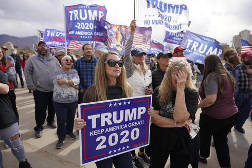 Supporters of President Donald Trump stage a rally outside the Utah State Capitol
