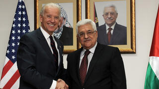 Then-U.S. Vice President Joe Biden and Palestinian President Mahmoud Abbas in Ramallah in 2010