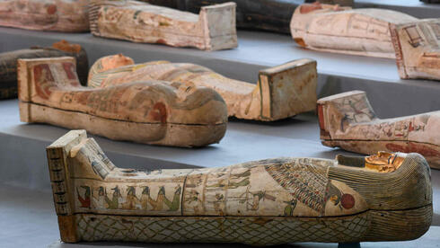 Some of the ancient sarcophagi discovered in a vast necropolis in Saqqara