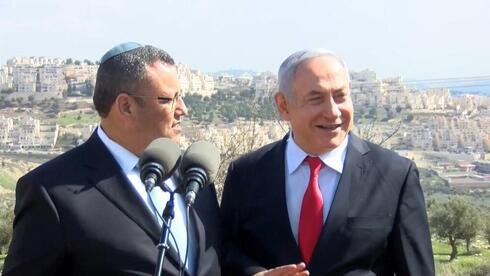 Prime Minister Netanyahu with Jerusalem Mayor Moshe Lion announcing plans to develop the settlement of Giv'at HaMatos in East Jerusalem earlier in the year