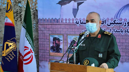 Guards' chief Major General Hossein Salami speaking during the inauguration of a warship