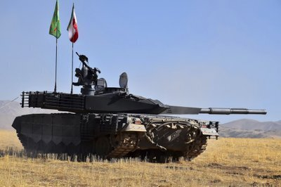 An Iranian tank flying the national and Revolutionary Guards Corps flags