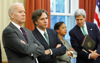 Joe Biden and Antony Blinken in 2013, during the Obama administration; also pictured are Susan Rice and John Kerry