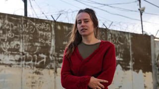 Hallel Rabin, a 19-year-old conscientious objector, outside the 'number six' military prison near Atlit in northern Israel