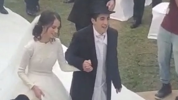 The bride and groom at the UAE's first Orthodox Jewish wedding