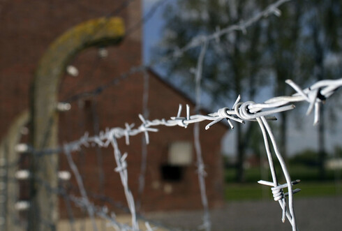 Barbed wire is seen at the memorial site of the former Nazi concentration camp 'Neuengamme' in Hamburg, northern Germany