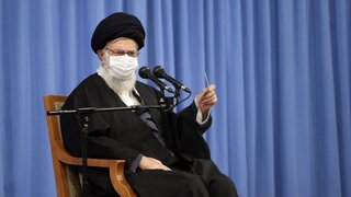 Supreme Leader Ayatollah Ali Khamenei speaks in a meeting with the family of Revolutionary Guard Gen. Qassem Soleimani who was killed in a U.S. drone strike in Baghdad in early 2020, and top military leaders, in Tehran, Iran