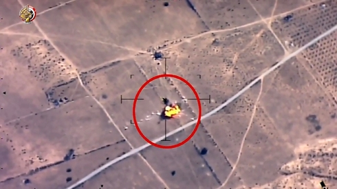 Footage of an Egyptian airstrike against ISIS targets in northern Sinai
