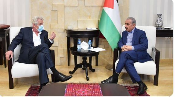 New UN Mideast envoy Tor Wennesland with Palestinian Prime Minister  mohammad shtayyeh in Ramallah in June