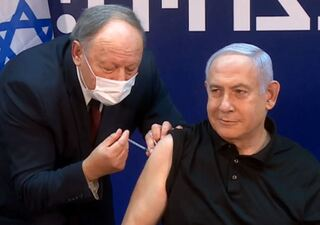 Prime Minister Benjamin Netanyahu becomes the first person in Israel to receive the coronavirus vaccine, Dec. 2020