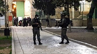 Security forces at the scene of the attack