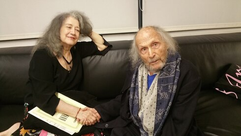 Gitlis (aged 96) with pianist Martha Argerich, after a joint performance at the Israel Philharmonic, Tel Aviv, 2018