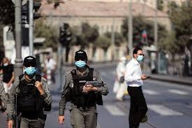 Police officers patrol in Jerusalem during Israel's third coronavirus lockdown