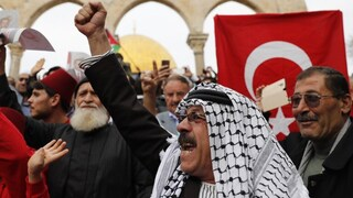 A Turkish flag is raised in a Palestinian demonstration out side the Al-Aqsa Mosque in Jerusalem