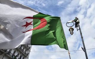 an Algerian national flag flying during a demonstration against ailing President Abdelaziz Bouteflika in the capital Algiers