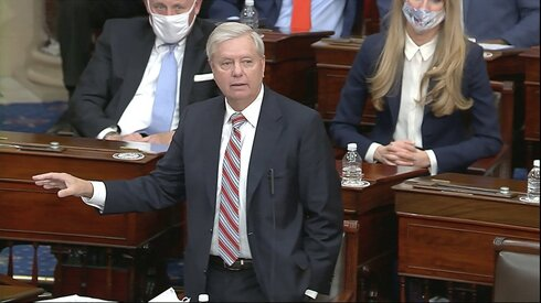 Sen. Lindsey Graham, R-S.C., speaks as the Senate reconvenes to debate the objection to confirm the Electoral College Vote from Arizona, after protesters stormed into the U.S. Capitol