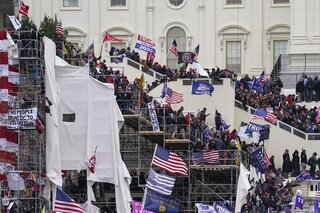 A mob of Trump supporters storming the Capitol in Washington, D.C. on Jan. 6, 2021