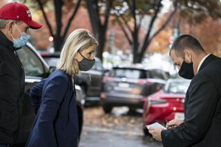 Rep.-elect Mary Miller (R-IL) arrives at the Hyatt Regency hotel on Capitol Hill on Nov. 12, 2020, in Washington, D.C.