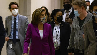 Speaker of the House Nancy Pelosi heads back to her office after calling for the removal of President Donald Trump from office either by an invocation of the 25th Amendment by Vice President Mike Pence and a majority of the Cabinet members or Impeachment at the U.S. Capitol
