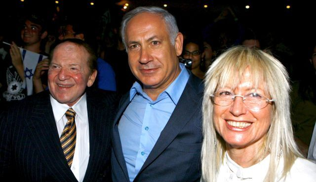 Sheldon Adelson and his wife Miriam with Prime Minister Benjamin Netanyahu