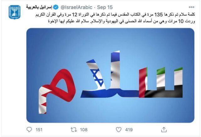 The words peace in Hebrew and Arabic as part of Israel's social media campaign directed at the Arab world