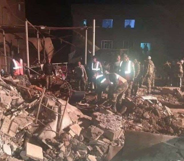 The aftermath of the alleged Israeli strike on Iranian targets in Syria
