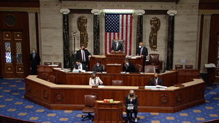 The start of a session by the U.S. House of Representatives to impeach President Donald J. Trump for a second time at the Capitol in Washington, D.C., Jan. 13, 2021