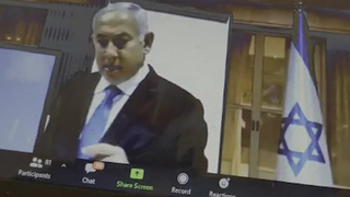 Prime Minister Benjamin Netanyahu campaigning on zoom with business owners in January