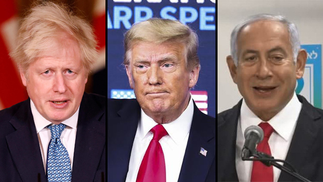 UK PM Boris Johnson, U.S. President Donald Trump and PM Benjamin Netanyahu