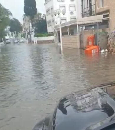 Nahariya street flooded after heavy rainfall