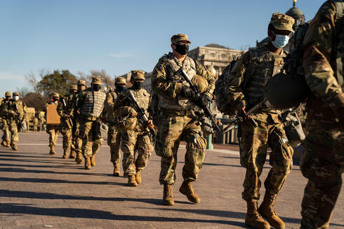 Members of the National Guard on duty outside the U.S. Capitol in Washington, D.C., on Jan. 14, 2021