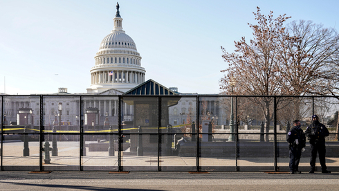 Fences put up around the Capitol building in Washington DC ahead of the inauguration of Joe Biden