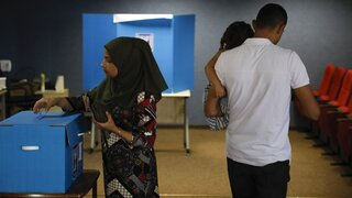 A woman voting in the Arab town of Kfar Manda during the September 2019 election