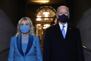 President-elect Joe Biden and Dr. Jill Biden arrive at the Capitol for his inauguration