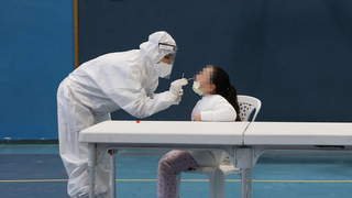 A child being tested for coronavirus in Beit Shemesh
