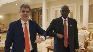 Intelligence Minister Eli Cohen and Gen. Abdel-Fattah Burhan, head of Sudan's ruling sovereign council, meeting in Khartoum