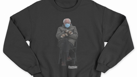 A sweatshirt bearing the now famous image of Bernie Sanders at Joe Biden's inauguration on sale on the senator's website
