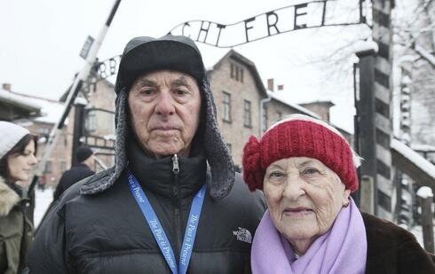 Rose Schindler, 85, right, a survivor of Auschwitz, and her husband Max, 85, visit the former death camp in Oswiecim, Poland